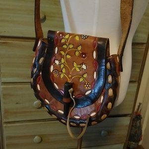 Vintage Mexico tooled leather floral vine purse